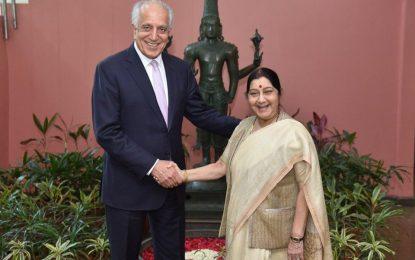 خلیلزاد با وزیر خارجه هند در مورد روند مذاکرات صلح افغانستان گفتگو کرد