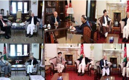 محمد اشرف غنی رییس جمهور با رهبران سیاسی  جداگانه در ارگ دیدار کرد