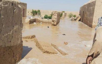 سیلاب ۵۰  خانه را در خاشرود نیمروز ویران کرده است